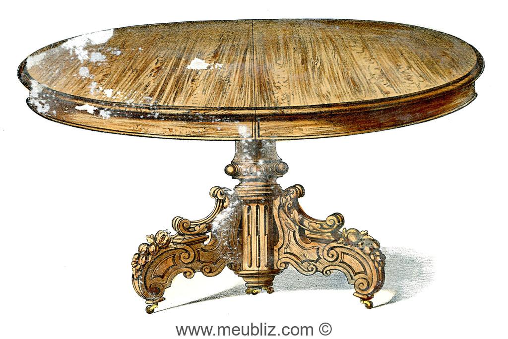 grande table ronde napol on iii sur pied central en bois massif meuble de style. Black Bedroom Furniture Sets. Home Design Ideas